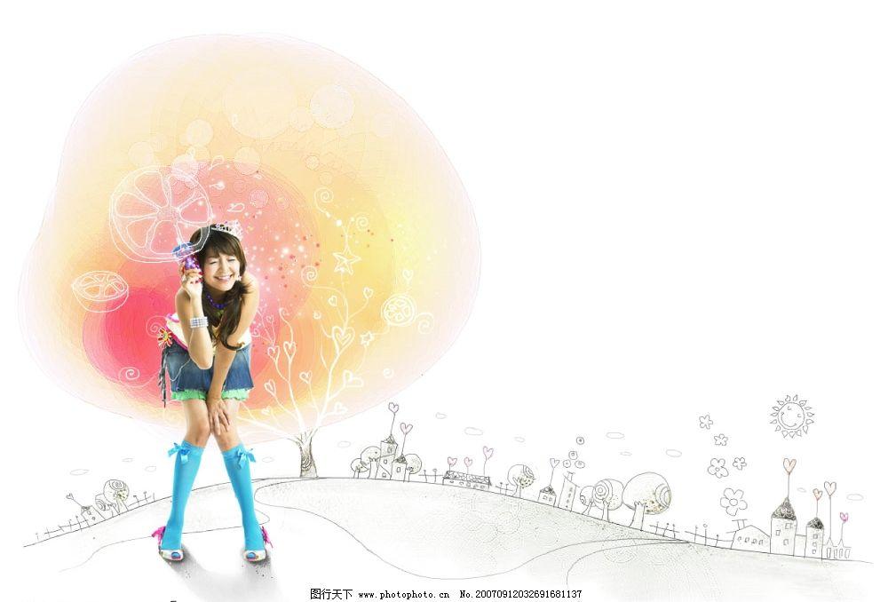 童话美少女图片,美女摄影模板 可爱少女 童话背景 -图