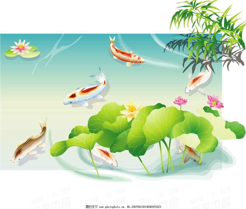 水墨鱼群 水墨画 中国古典 设计素材 水 吉祥图案 生物世界 鱼类 鲤鱼-图片