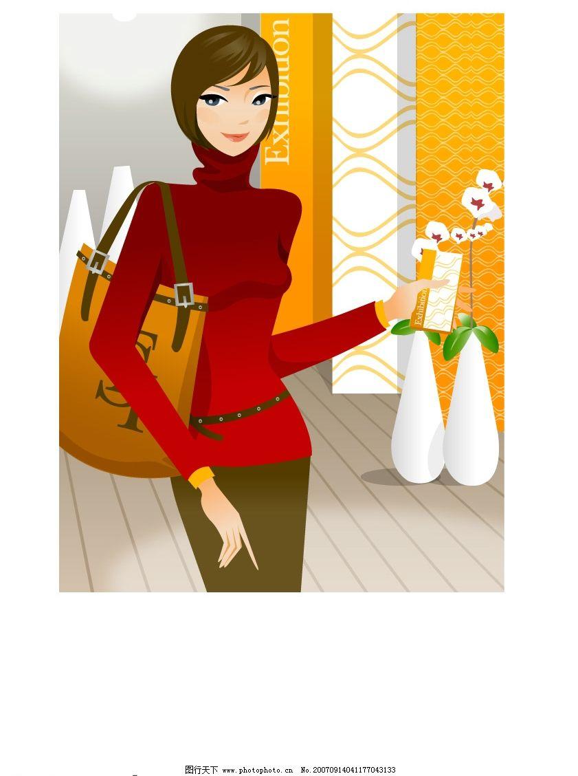 购物美女 矢量人物 妇女女性 矢量图库