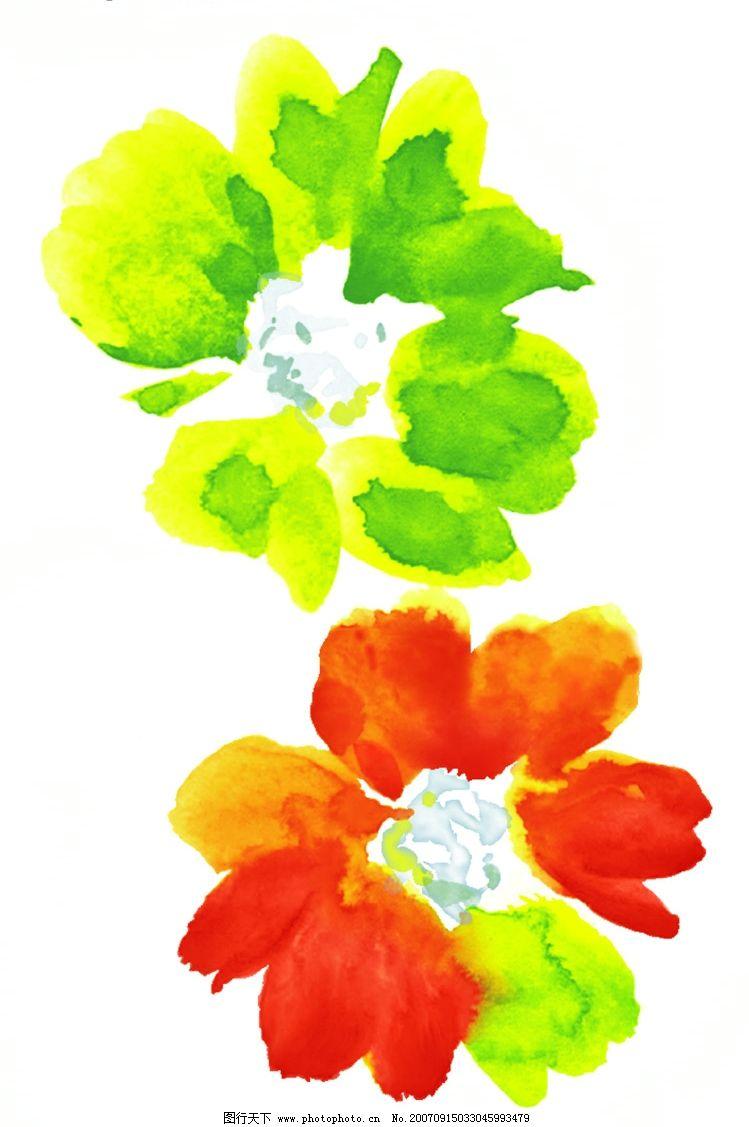 花朵水彩画 花朵 韩国花纹psd素材