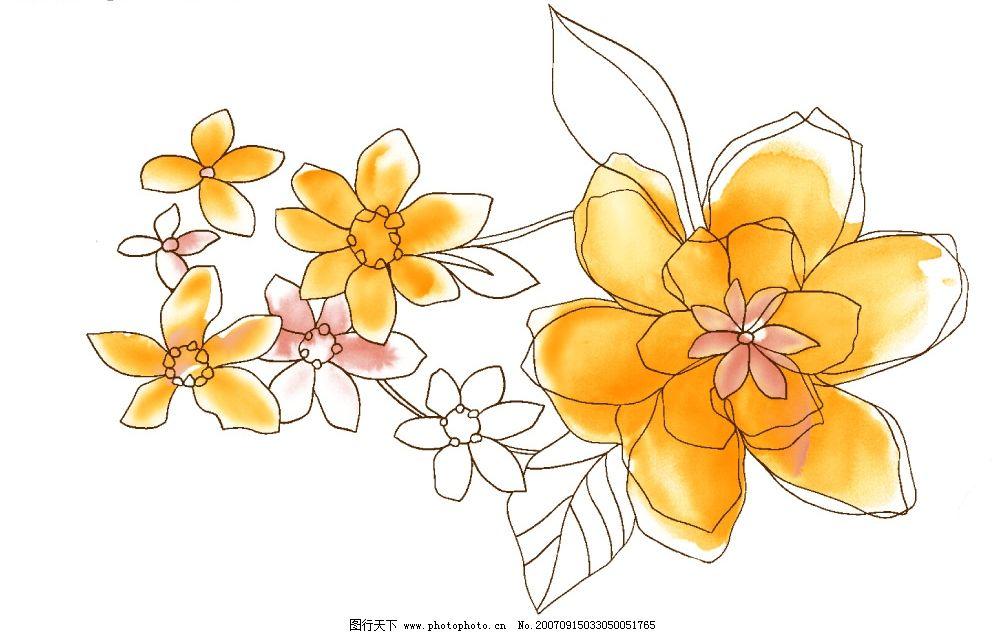 花卉绘画 花朵 韩国花纹psd素材 花朵psd素材 卡通花朵 韩国风格 花卉