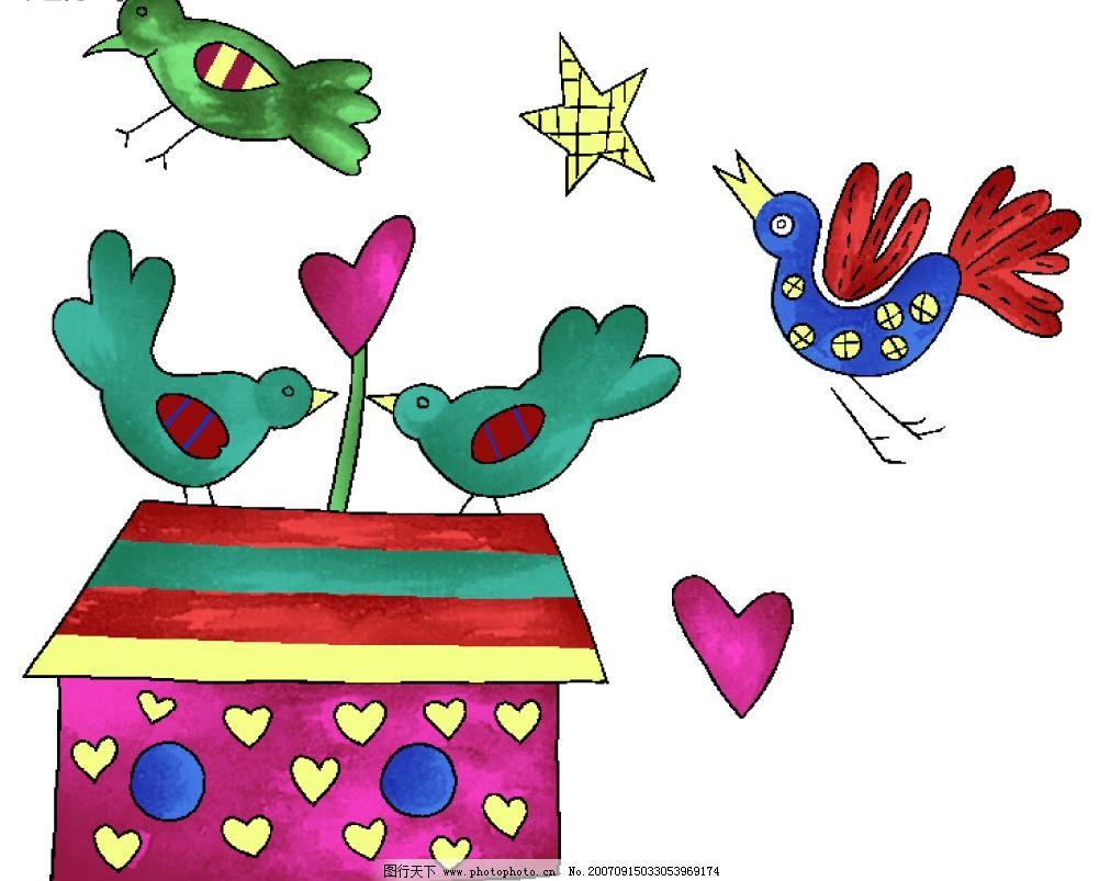 卡通小鸟 小鸟漫画 小鸟的卡通图片 小鸟彩画 鸟类 psd素材 韩国花纹