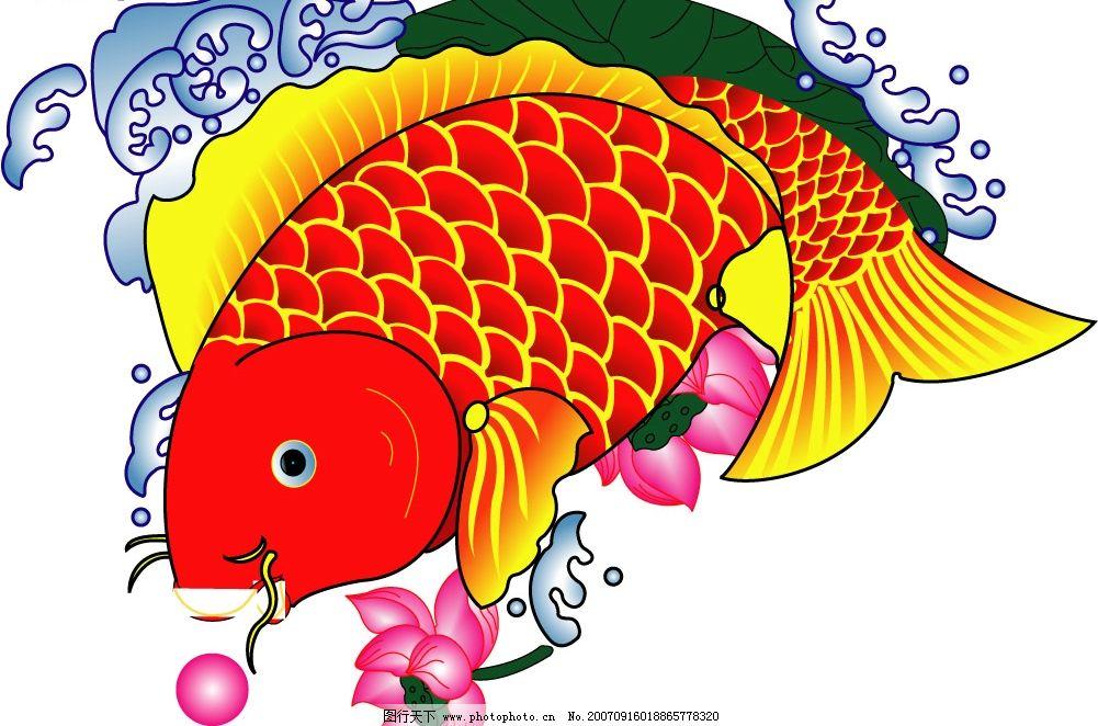 鲤鱼年画 传统矢量图 中国传统矢量图 传统图案矢量图 中国传统图案