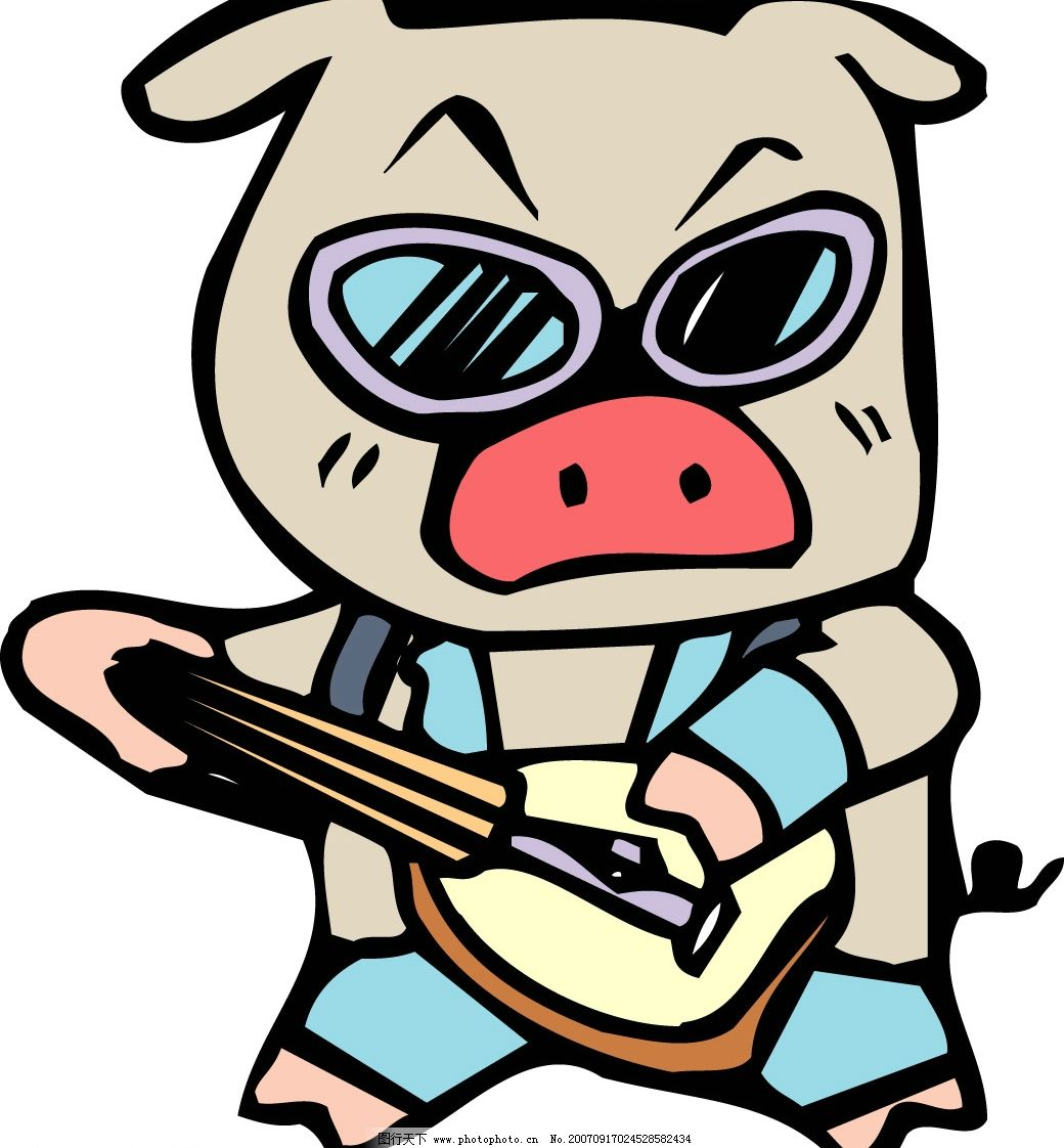 谈吉他的猪漫画 猪的矢量图 矢量猪 卡通猪 猪的漫画 漫画猪 猪的图片