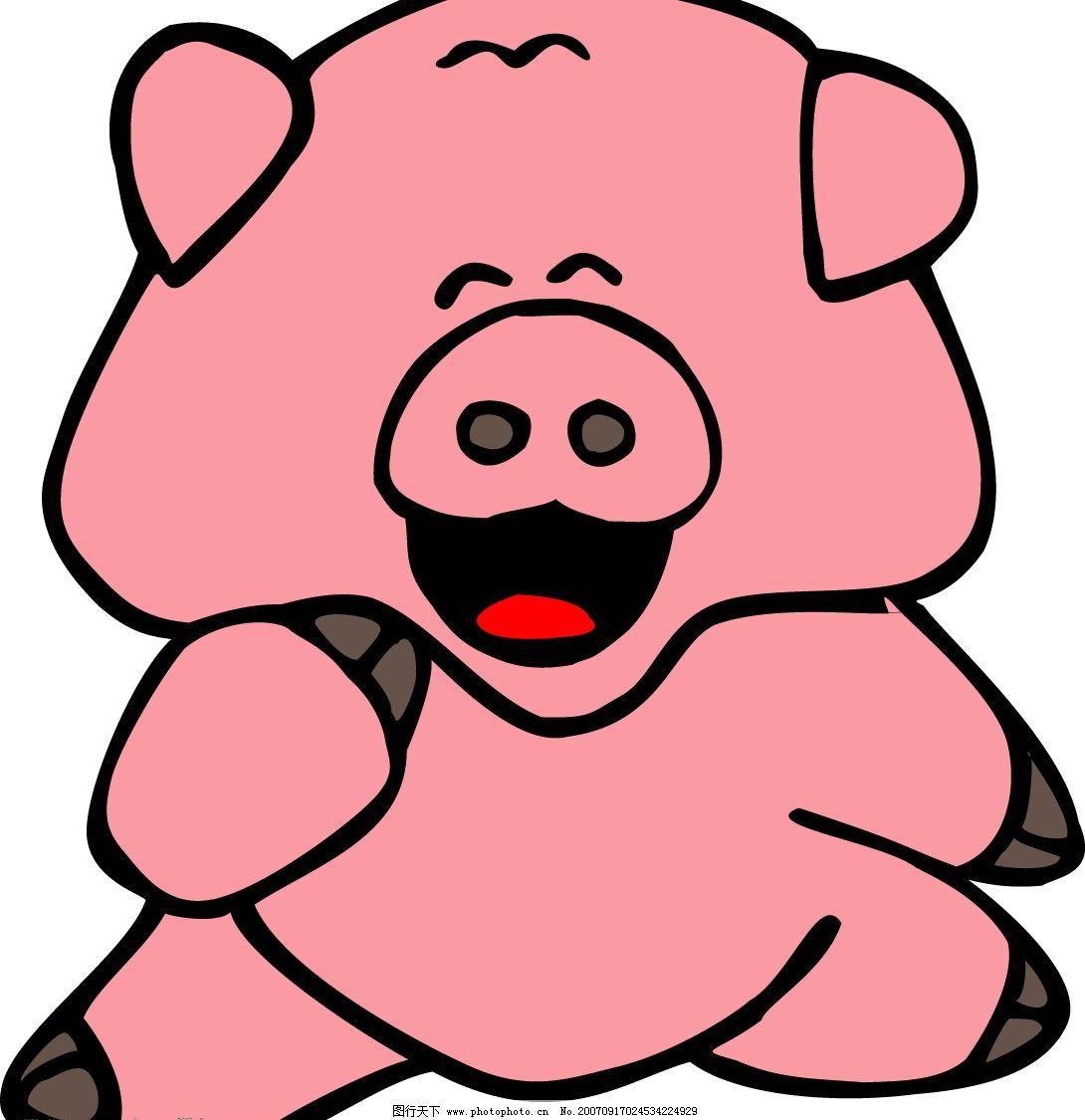 卡通野猪 猪的矢量图 矢量猪 卡通猪 猪的漫画 漫画猪 猪的图片