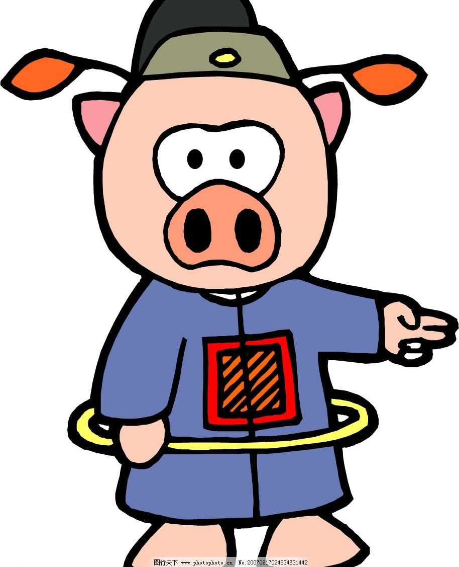 矢量猪 卡通猪 漫画猪 猪的图片 生物世界 家禽家畜 矢量图库   ai
