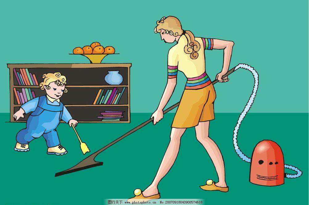 卡通母子干家务图片_动画素材_flash动画_图行天下图库