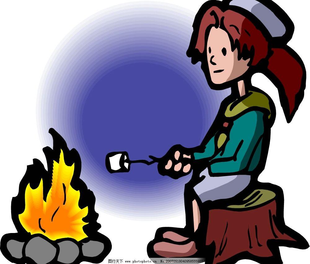 烤火取暖 儿童 矢量儿童 卡通儿童 韩国儿童矢量图 卡通儿童矢量图