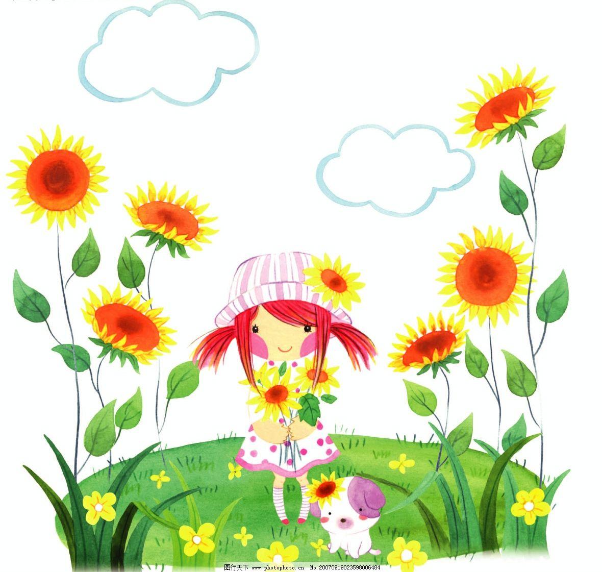 花丛中的女孩 儿童 矢量儿童 韩国儿童矢量图 卡通儿童矢量图 儿童