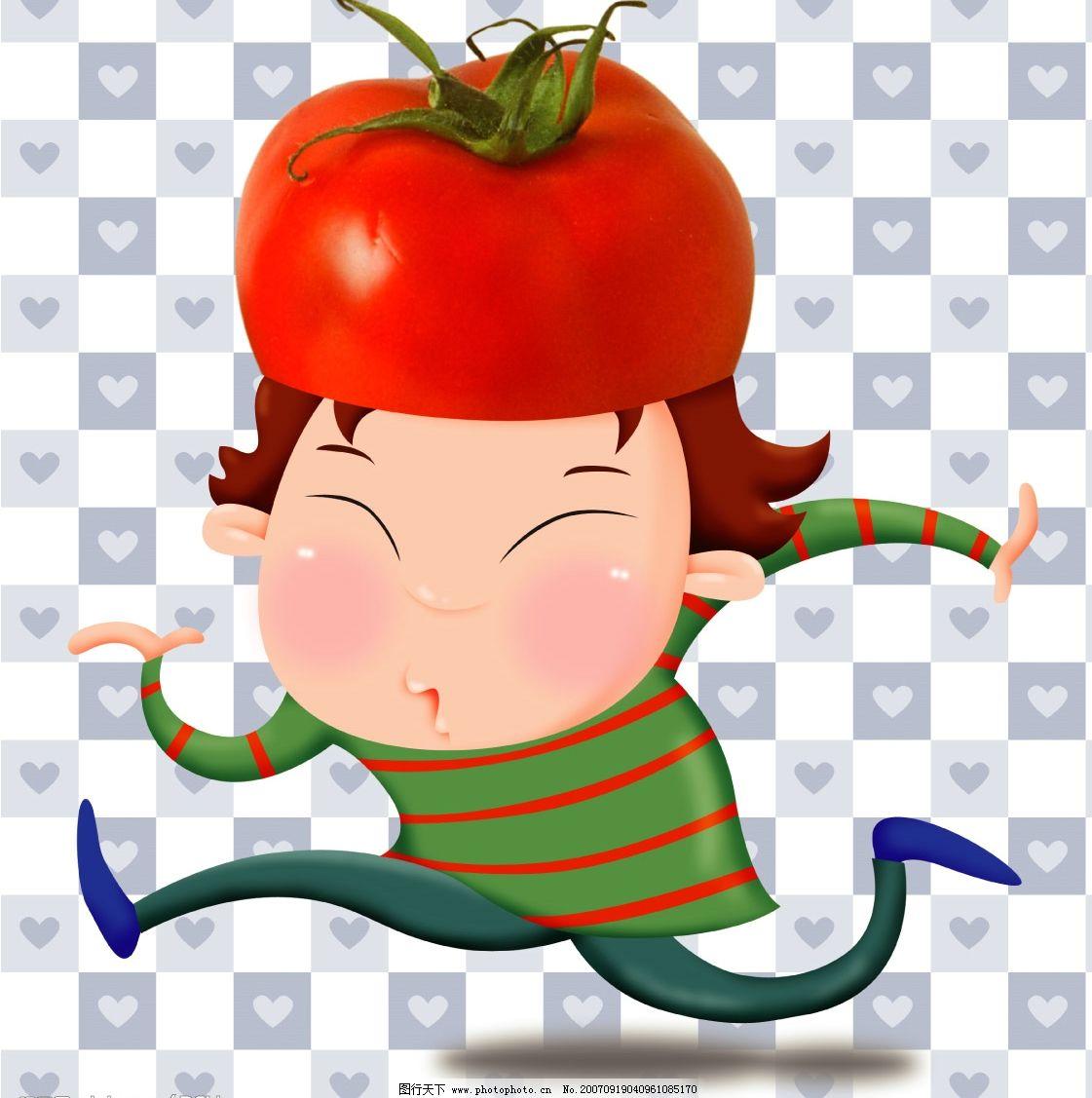 番茄女孩 儿童 矢量儿童 韩国儿童矢量图 卡通儿童矢量图 儿童矢量