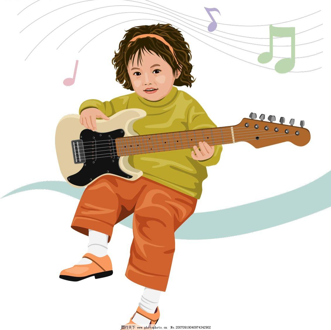 弹吉他女孩 儿童 矢量儿童 韩国儿童矢量图 卡通儿童矢量图 韩国儿童