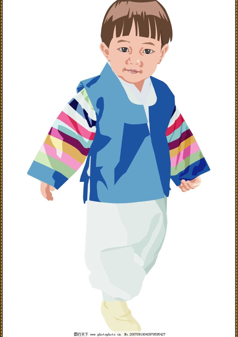 韩国小男孩 儿童 矢量儿童