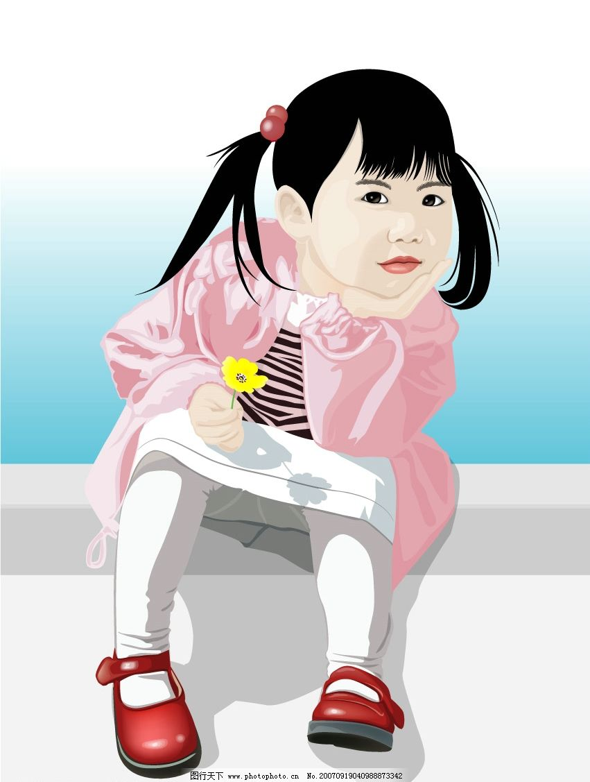 可爱小女孩 儿童 矢量儿童 韩国儿童矢量图 卡通儿童矢量图 韩国儿童
