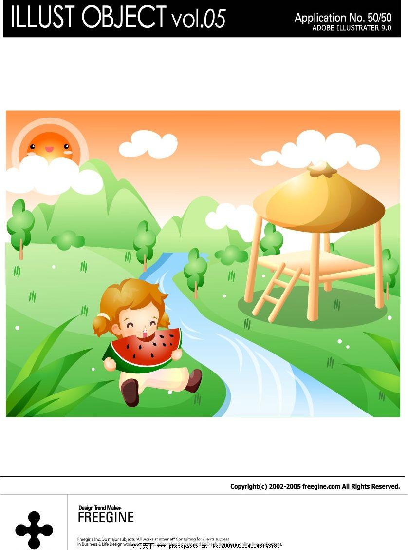 吃西瓜女孩 儿童 矢量儿童 韩国儿童矢量图 卡通儿童矢量图 韩国儿童