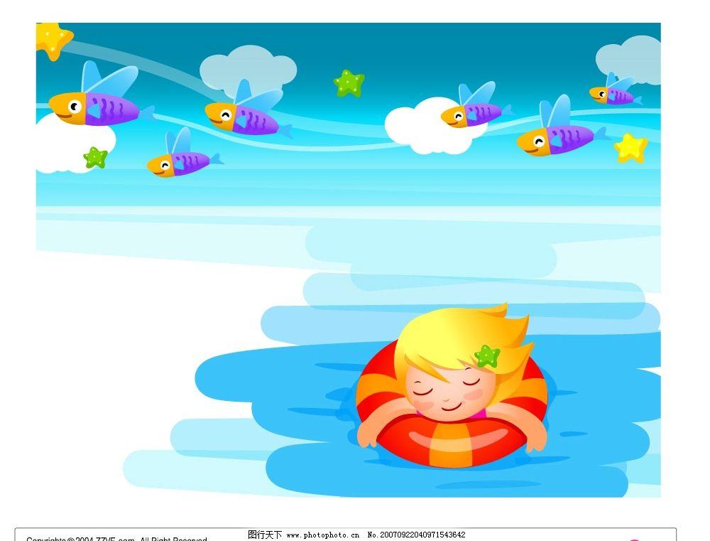 游泳的卡通儿童 矢量儿童 韩国儿童矢量图 卡通儿童矢量图 儿童矢量