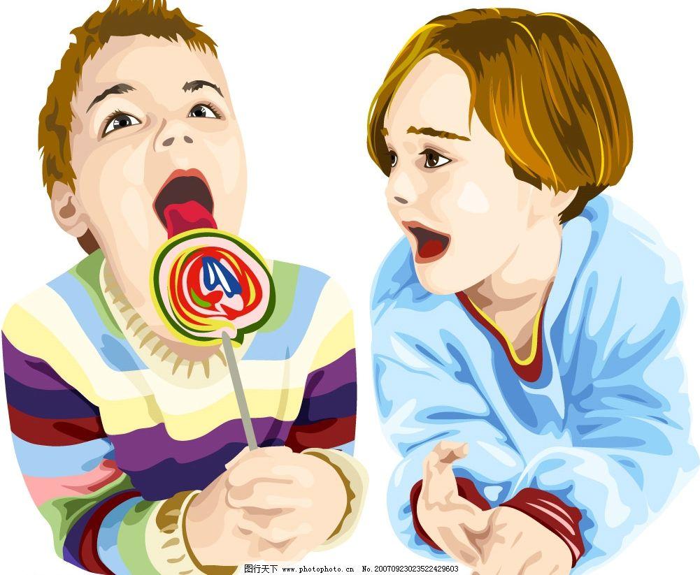 儿童吃糖 儿童 矢量儿童 韩国儿童矢量图 卡通儿童矢量图 韩国儿童