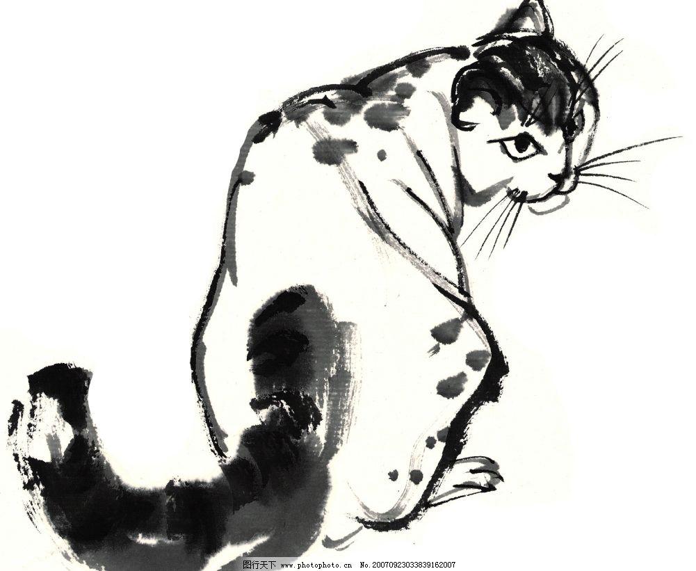 水墨风格的猫咪图片