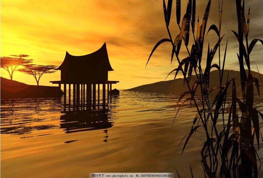 夕阳景物 自然景观 山水风景 摄影图库   350 jpg