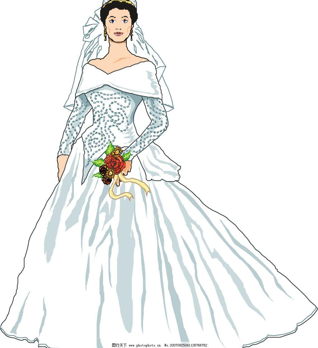 新娘 矢量人物 妇女女性 矢量图库   wmf