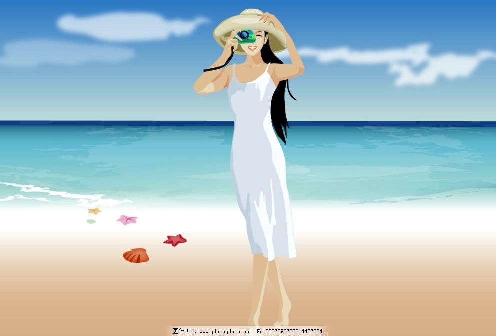 夏日 海滩 矢量风格 素材 沙滩 海 海边 女生 美女 人物图库 生活人物