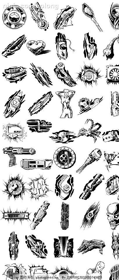 50款金属物件图案矢量素材 拉链 机械手臂 零件 水管 其他矢量